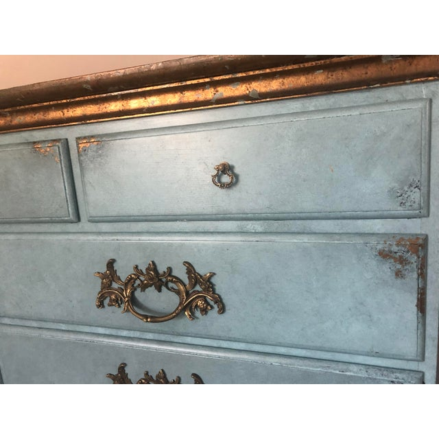 Wood Vintage Blue Faux Painted Large Chest of Drawers Dresser For Sale - Image 7 of 13
