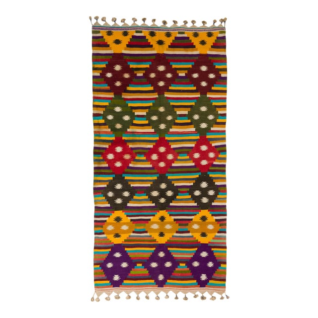 Multi-Color Striped Cotton Indian Dhurrie Rug For Sale