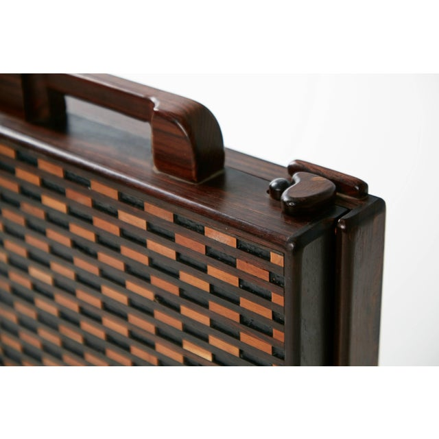 Green 1970s Don Shoemaker for Señal Exotic Wood Inlaid Decorative Briefcase For Sale - Image 8 of 11