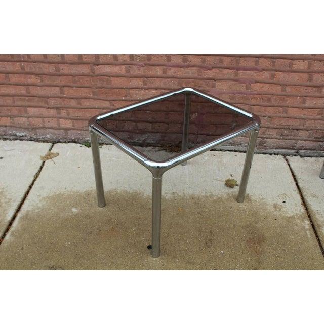 Tubular Chrome & Smoky Glass Coffee Table & Side Tables - Set of 3 ...