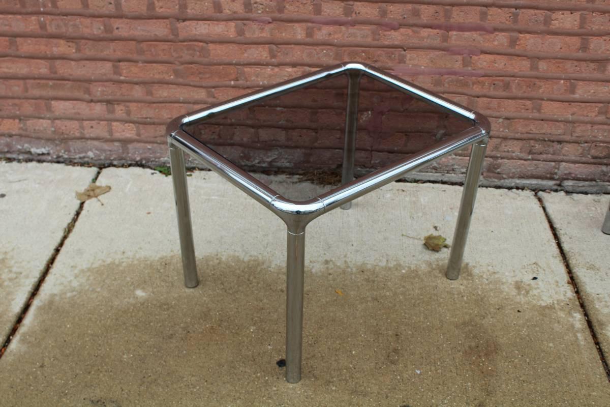 Tubular Chrome u0026 Smoky Glass Coffee Table u0026 Side Tables - Set of 3 - Image  sc 1 st  Chairish & Tubular Chrome u0026 Smoky Glass Coffee Table u0026 Side Tables - Set of 3 ...