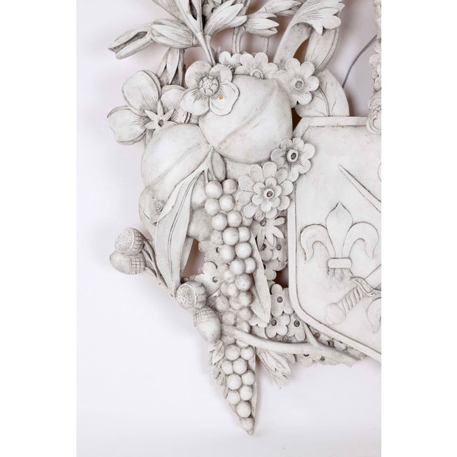 Early 20th Century White Wood Carved Family Crest For Sale - Image 5 of 6