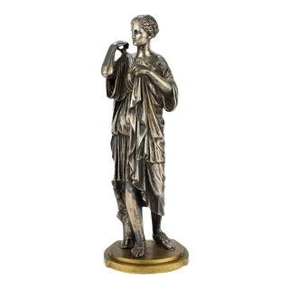 Diane De Gabies Silvered Grand Tour Bronze Sculpture by Gautier & Albinet For Sale