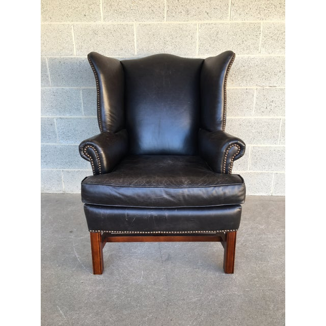 Description: Thatcher Pottery Barn Leather Arm Chair, Burnished Wolf Gray. In Very Good Original Distressed Condition,...