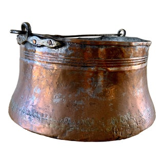 19th Century French Primitive Copper Cauldron For Sale