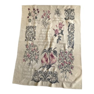 Floral Wall Tapestry With Tan Background For Sale