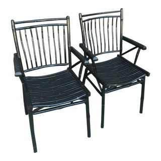 Late 19th Century Black Faux Bamboo Accent Chairs- A Pair For Sale