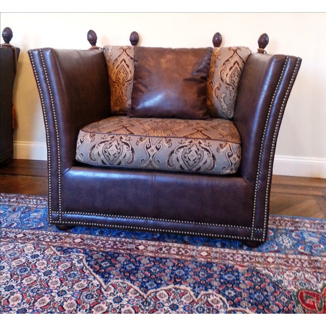Safavieh Leather Nailhead Accent Chairs - Pair - Image 6 of 8