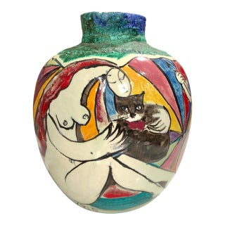 "1980s Ceramic Abstract Nude Women with Cat's Vase by Sofoklis ""Kris"" Archodakis For Sale"