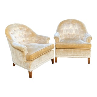 Ethan Allen Tufted Velvet Lounge Chairs - a Pair For Sale