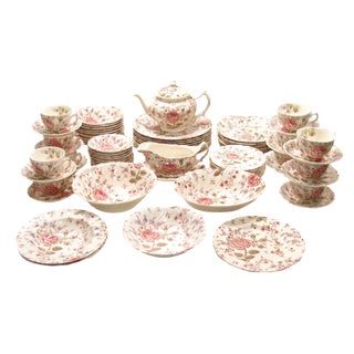 Vintage English Rose Chintz China Service - Set of 75 For Sale