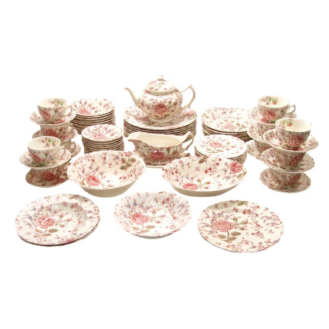 Vintage English Rose Chintz China Service - Set of 75 For Sale
