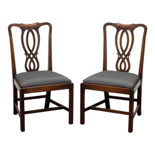 Bevan Funnell Reprodux Mahogany Georgian Straight Leg Dining Side Chairs - Pair 1 For Sale