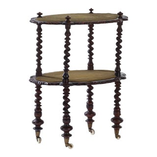19th Century Traditional Oak Barley Twist 2 Tiered Table For Sale