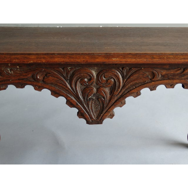 Antique French Carved Oak Bench For Sale - Image 9 of 11