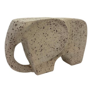 Grey Elephant Ceramic Sculpture For Sale