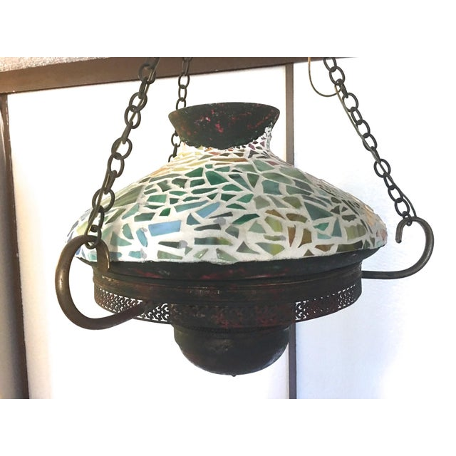 Vintage 1940s Mosaic Ceiling Lamp - Image 4 of 10