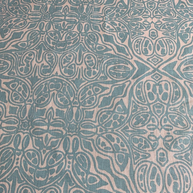 Quadrille Turquoise Linen Fabric For Sale - Image 4 of 5