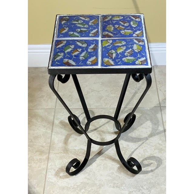 Vintage Persian Tile Side Table For Sale - Image 12 of 13
