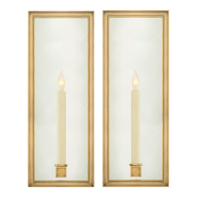 Chapman for Visual Comfort Lund Solid Brass & Mirrored Light Sconces - a Pair For Sale
