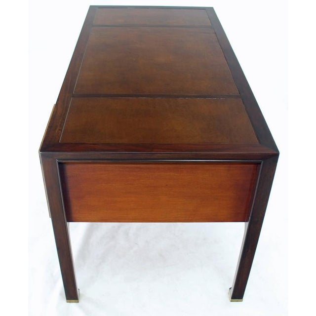 Teak Walnut Leather Top Executive Desk by Baker For Sale In New York - Image 6 of 9