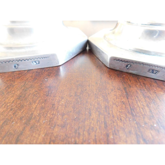 Sterling Silver European Hallmarked Candleholders - a Pair For Sale - Image 10 of 12