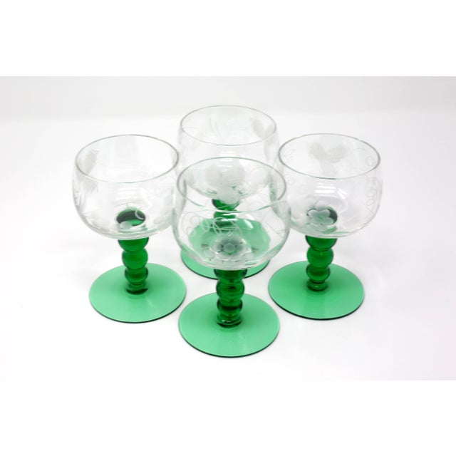 Green Mid-Century Cordial Glasses With Etched Grapes and Leaves - Set of 4 For Sale - Image 8 of 12