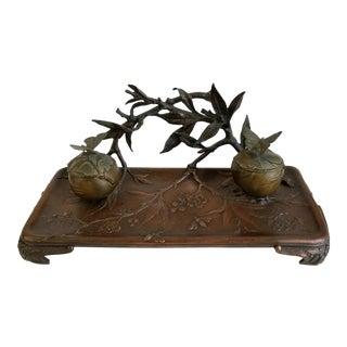 Vintage Japanese Nouveau Gold Gilded Metal Bronze Blossom Branch Inkwell For Sale
