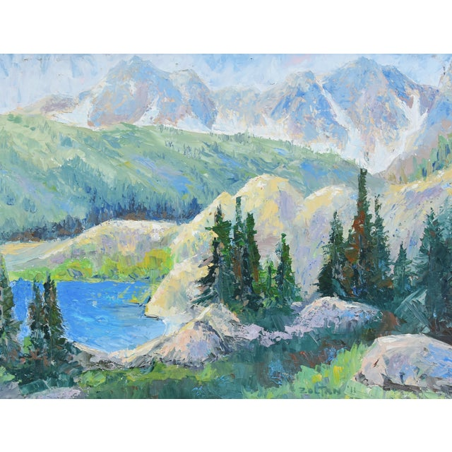 Traditional Zoltan, Plein Air Mountain and Lake Landscape Oil Painting For Sale - Image 3 of 9