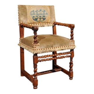 French Walnut Armchair, circa 1720 For Sale