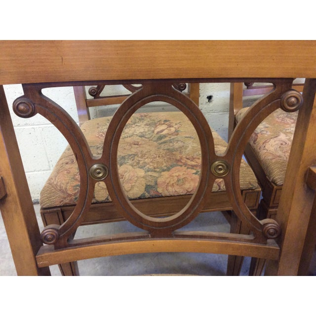 Regency Style Wood Dining Chairs with Brass Accents - A set of 6 - Image 6 of 11