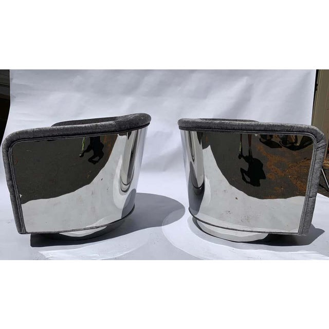 Hollywood Regency Restored Milo Baughman Chrome Back Barrel Chairs - a Pair For Sale - Image 3 of 8