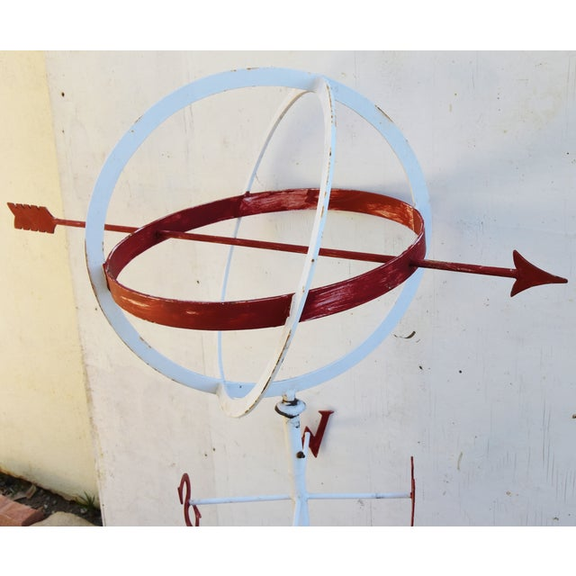 Vintage Folk Art Armillary Sphere Weathervane W/ Stand For Sale In Los Angeles - Image 6 of 13
