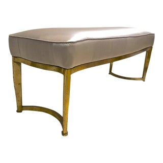 Andre Arbus Long Curved Refined Bench With Gold Leaf Metal Base Newly Covered in Satin Silk For Sale