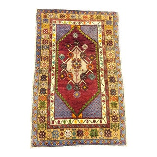 Red Purple and Yellow Nomadic Traditional Handmade Decorative Aztec Turkish Rug For Sale