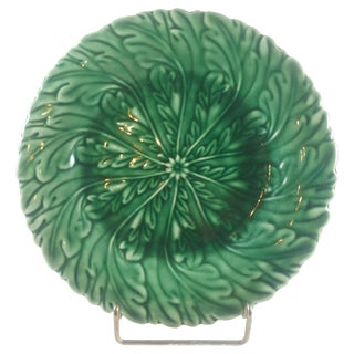 Art Nouveau Green Majolica Plate For Sale