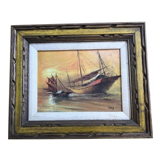 Vintage Nautical Sailboat Painting For Sale