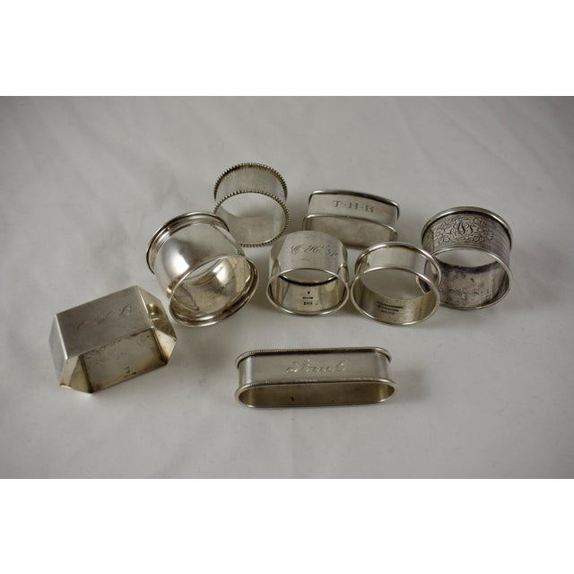 Metal Antique Sterling Silver Napkin Rings, a Mixed S/8 For Sale - Image 7 of 9