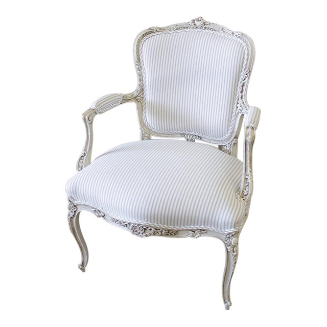 Antique French Arm Chair In Ticking Chairish