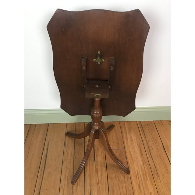 Wood Antique Petite Tilt Top Table With Leather For Sale - Image 7 of 8