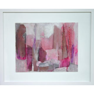 "Gina Cochran ""Landscape in Pink"" Framed Original Encaustic Collage"