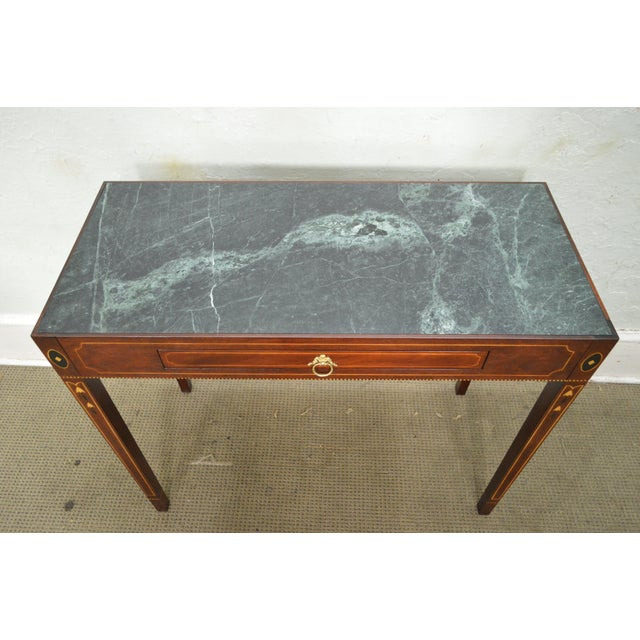 Henkel Harris Mahogany Federal Style Marble Top Inlaid Console Mixing Table For Sale - Image 9 of 10