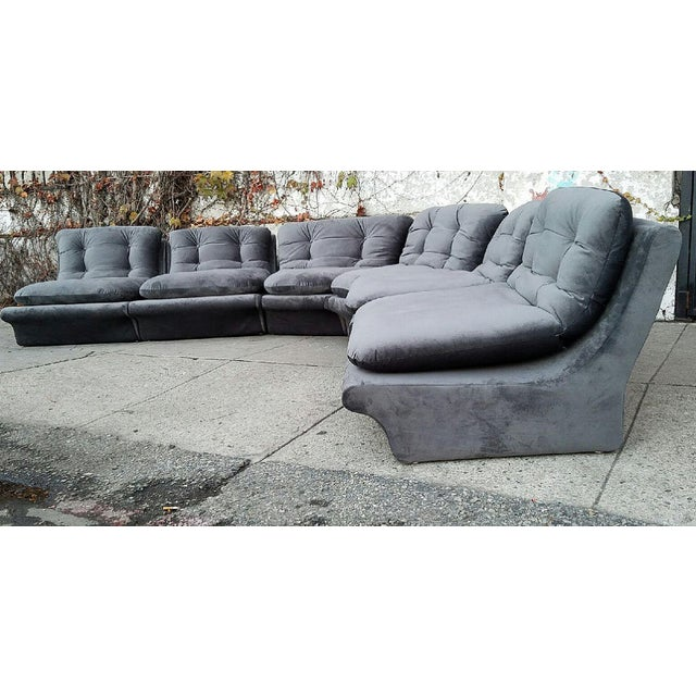 Vladmir Kagan Grey Velvet Sectional Sofa - Image 3 of 5