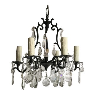French Petite Vintage Versailles-Style Crystal Chandelier For Sale