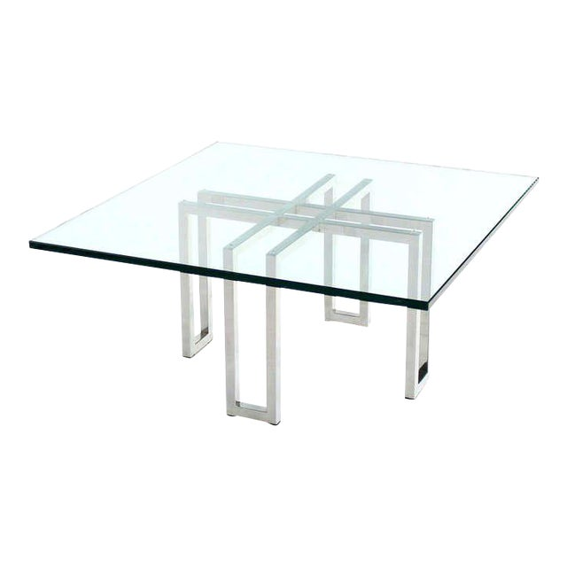 Modern Square Coffee Table With Glass Top: Distinguished Chrome Base And Square Glass-Top, Mid