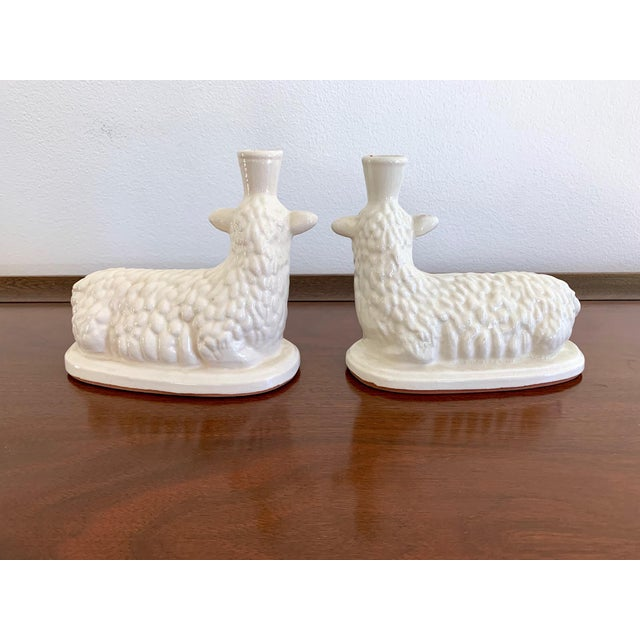 White Terracotta Vintage Lamb Candle Holders - a Pair For Sale In San Diego - Image 6 of 7