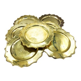 Vintage Mid Century Set of 7 Solid Brass Decorative Charger Plates, Made in India For Sale