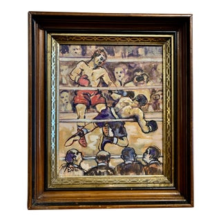 1940s Boxing Painting by Al Smith, O/B, Usa For Sale