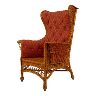 American Victorian Wicker Wing Chair For Sale