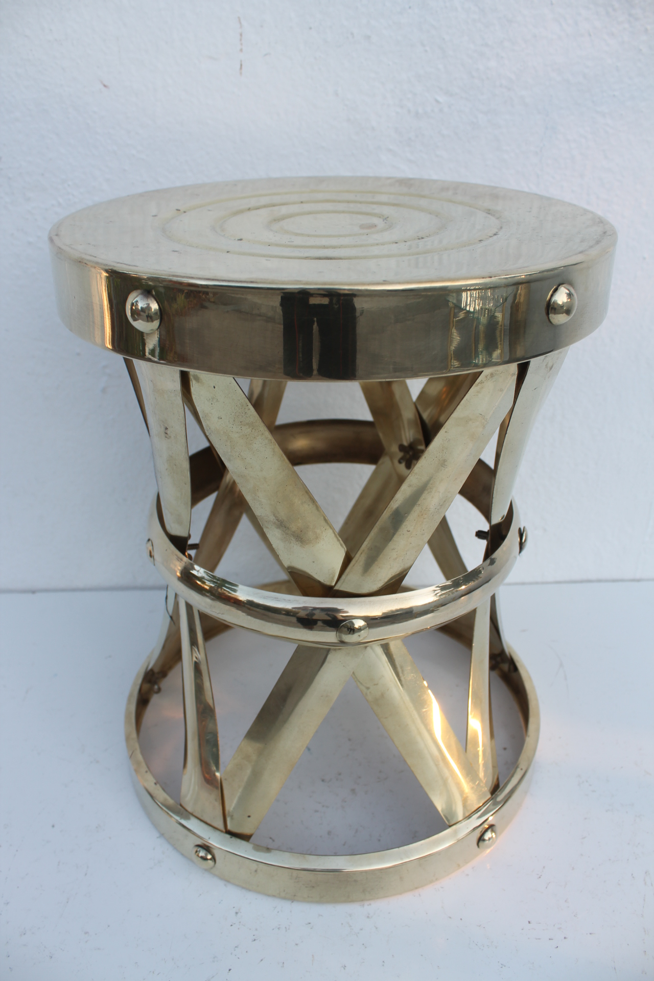 Vintage Mid Century Modern Sculptural X  Drum Side Table Or Stool, Made Of